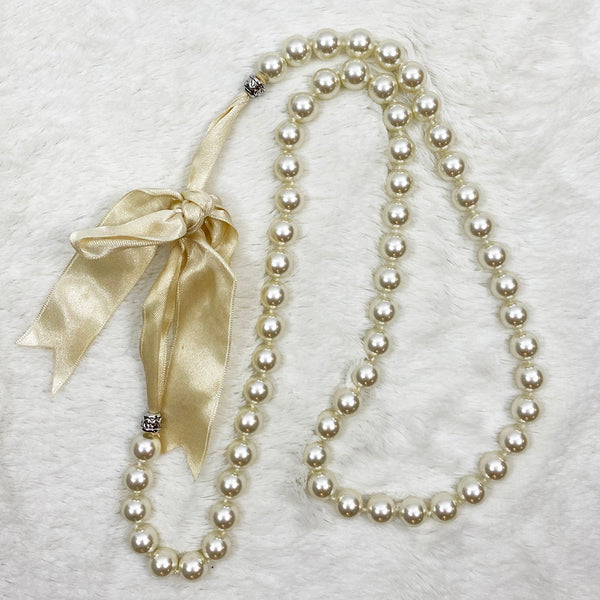 Long Pearl Necklace with Ribbon