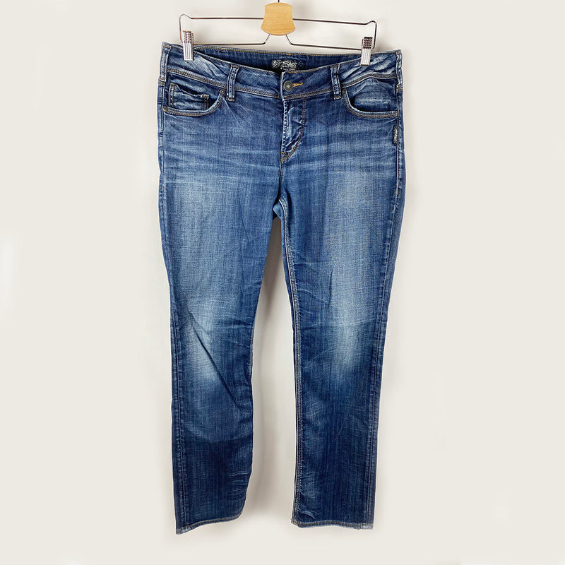 Suki Mid Straight Jeans | Silver | Size 32/32