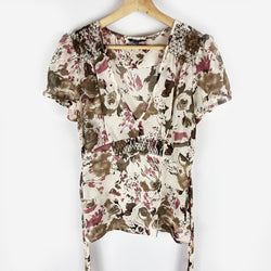 Sheer Floral Blouse | Reitmans | Size M