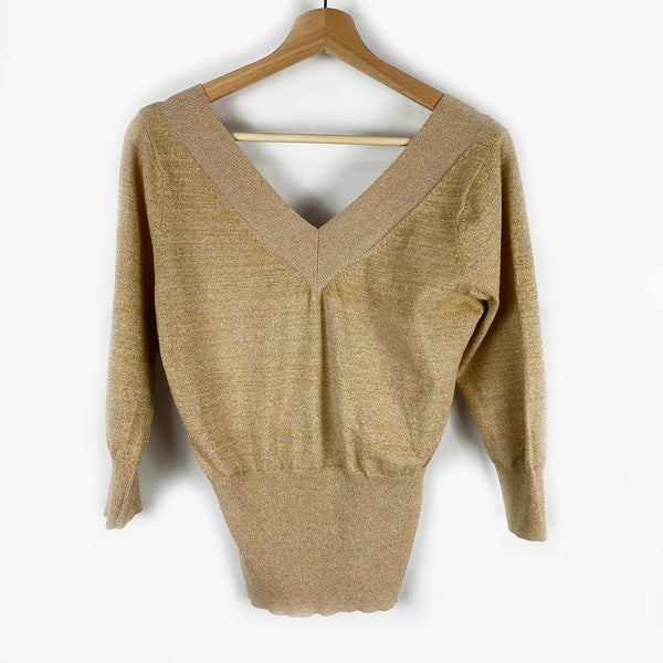 Gold V-Neck Sweater | Size L/XL
