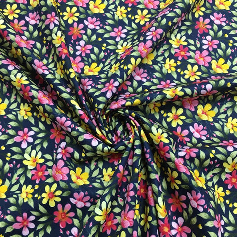 Pink and Yellow Flowery Park Cotton Poplin Fabric