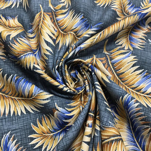 Gold and Blue Feather Cotton Poplin Fabric