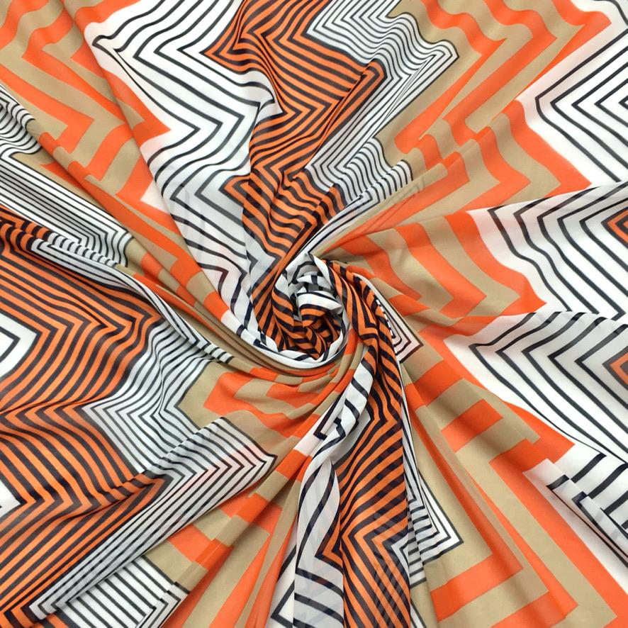 Orange Zig Zag Chiffon Fabric