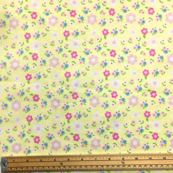 Flowers on Yellow Brushed Cotton Fabric