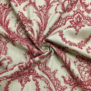 Red Vintage Look 100% Linen Fabric