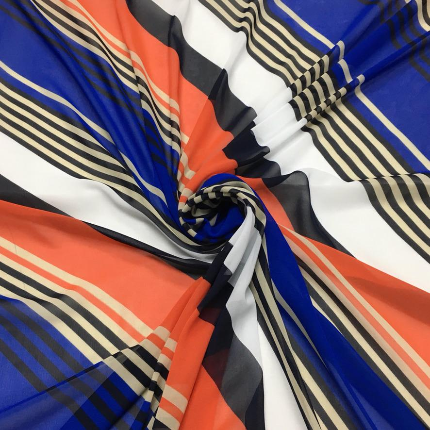 Blue/Orange Diagonal Chiffon Fabric
