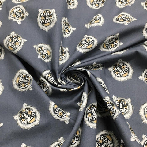 Grey Tiger Face Cotton Poplin Fabric