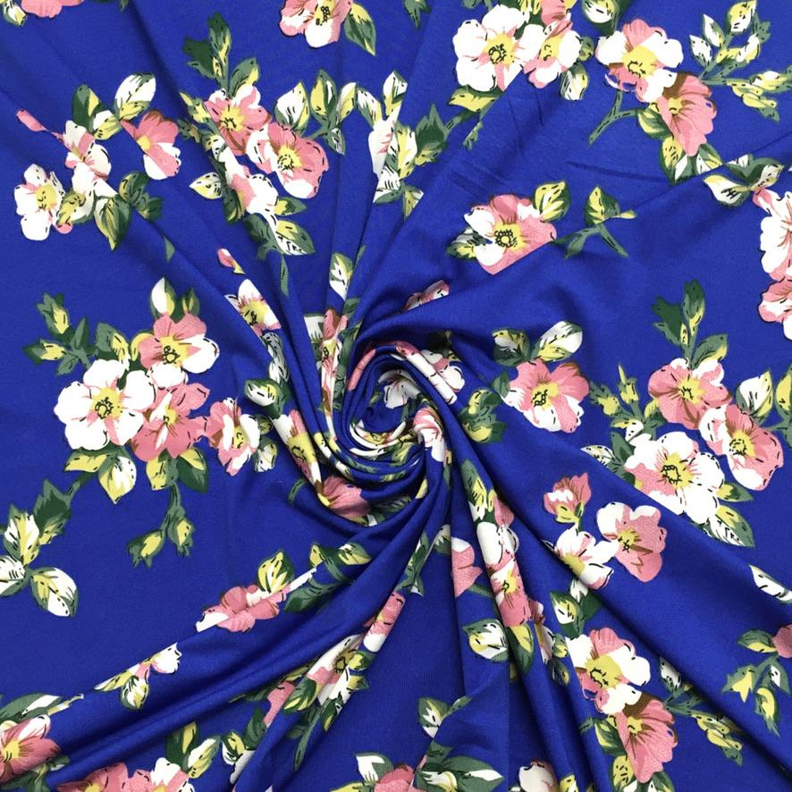 Ivory and Pink Flowers on Royal Blue Jersey Fabric