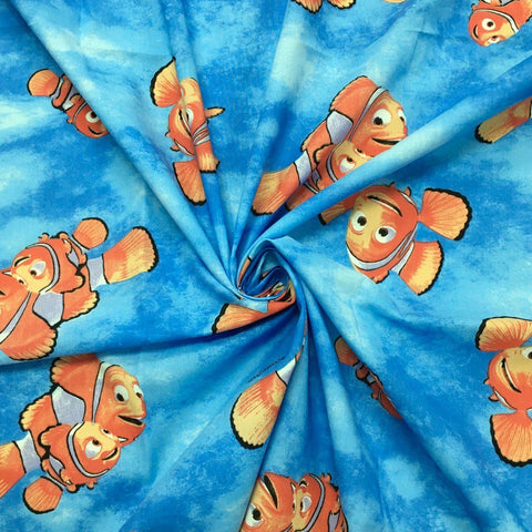 Blue Finding Nemo 100% Cotton Fabric - 3 metres for £10