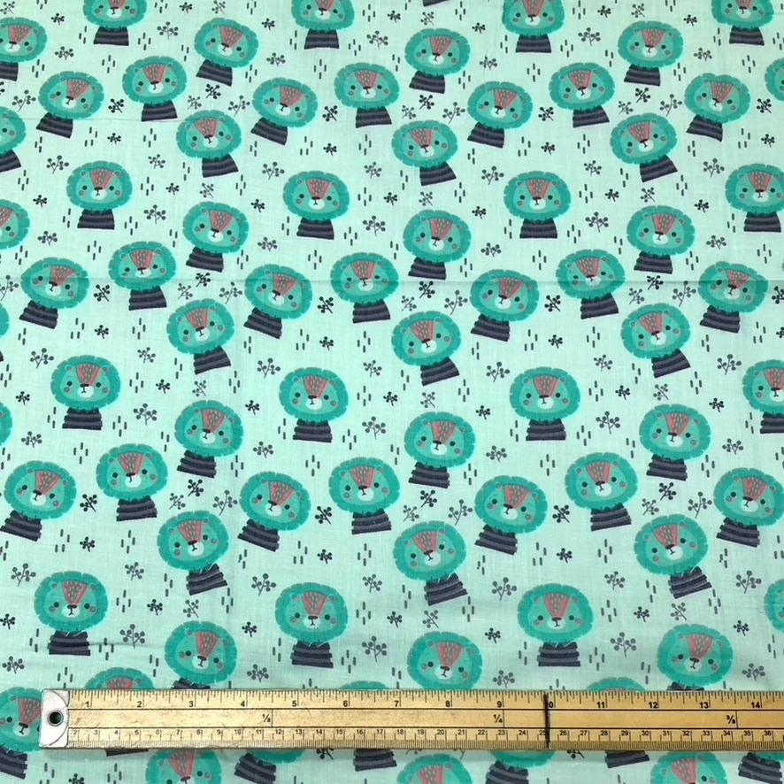 Lion Polycotton Fabric - 3 metres for £3