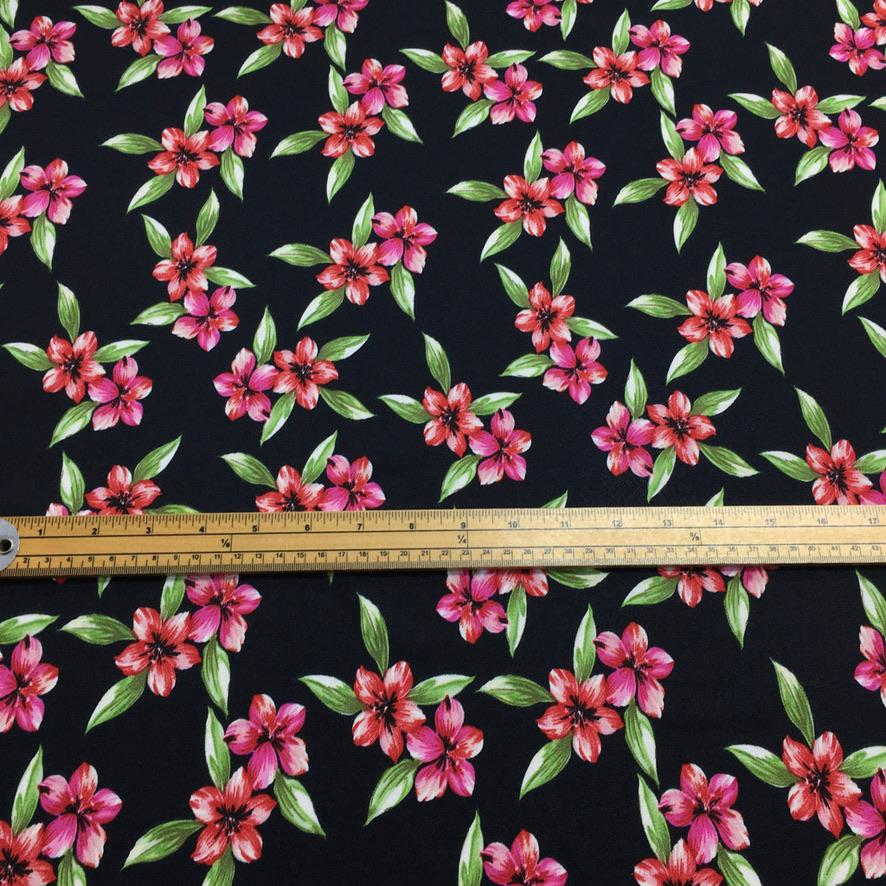 Red and Pink Flower Green Leaf Stretch Fabric