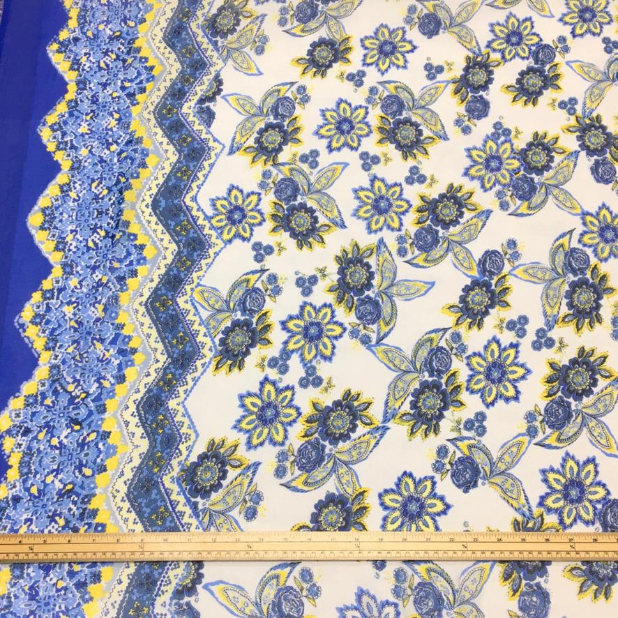 Blue, Yellow and Ivory Floral Double Border Chiffon Fabric