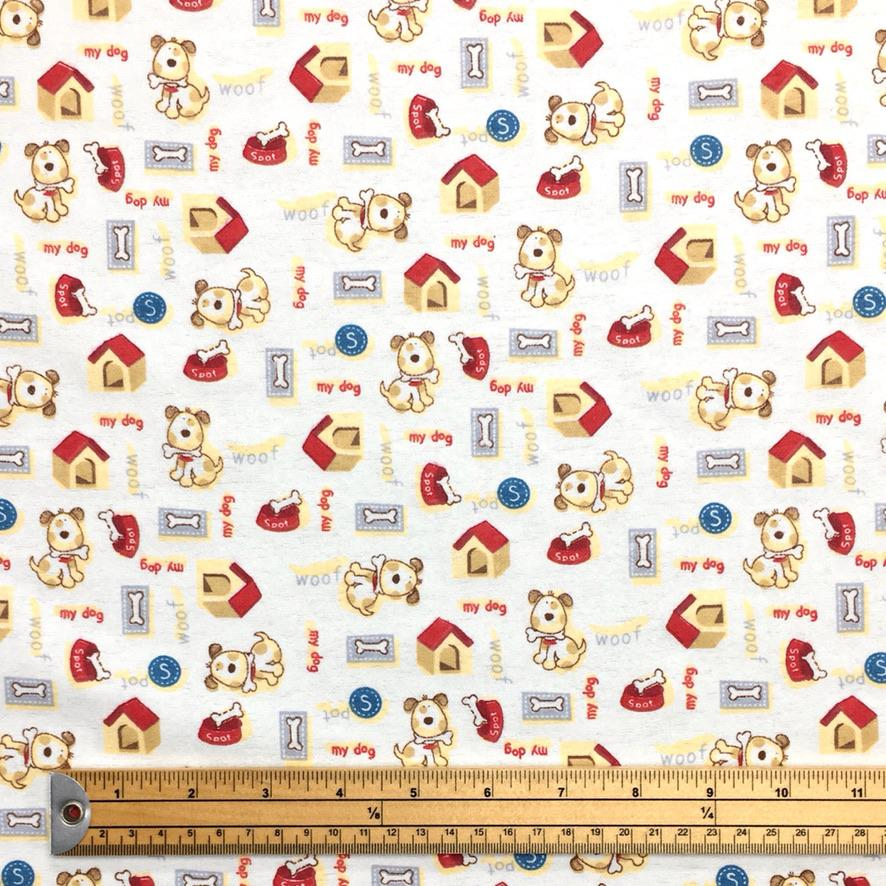 Dogs and Bones Brushed Cotton Fabric