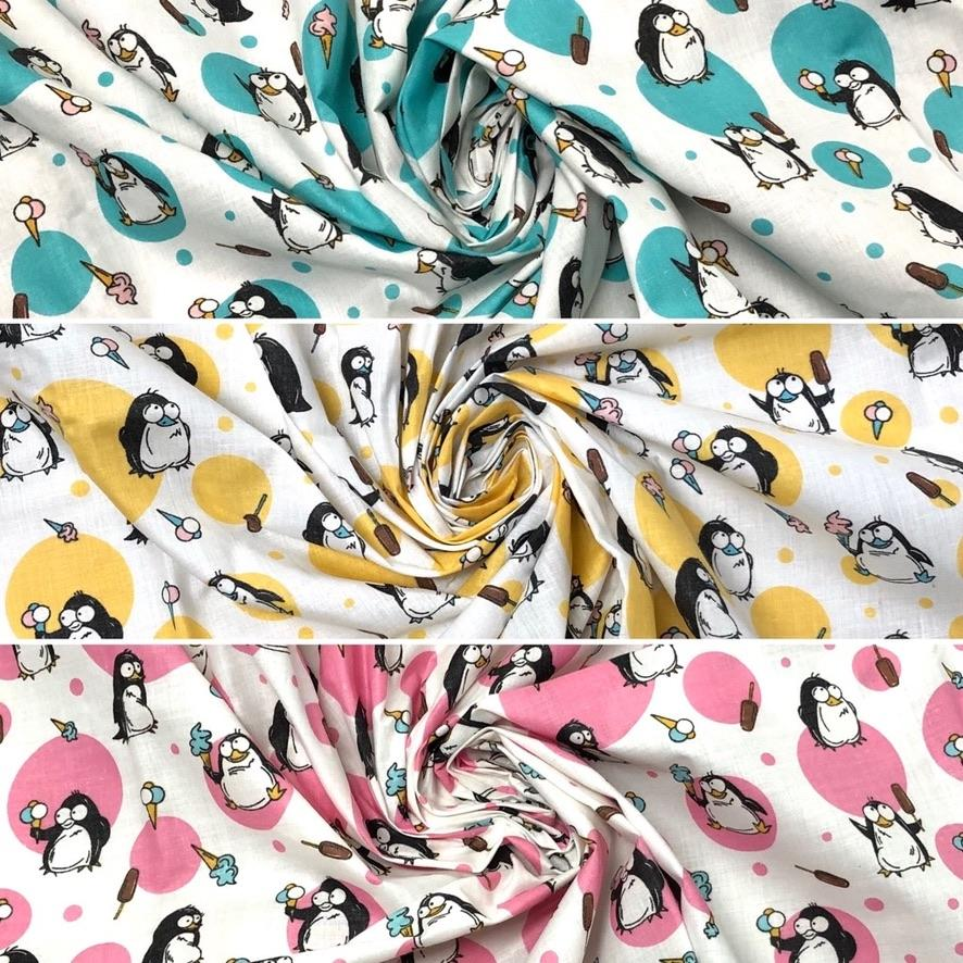 Penguin Polycotton Fabric - 3 metres for £3