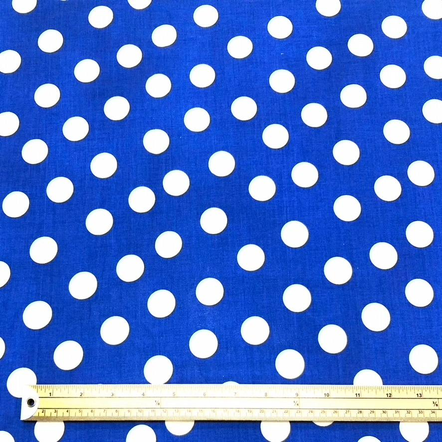 Royal Blue and White Spotty Cotton Fabric
