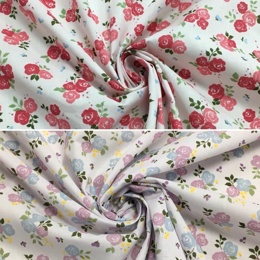 Large Roses Polycotton Fabric