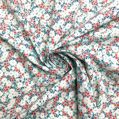 Mint Small Ditsy Floral Cotton Fabric