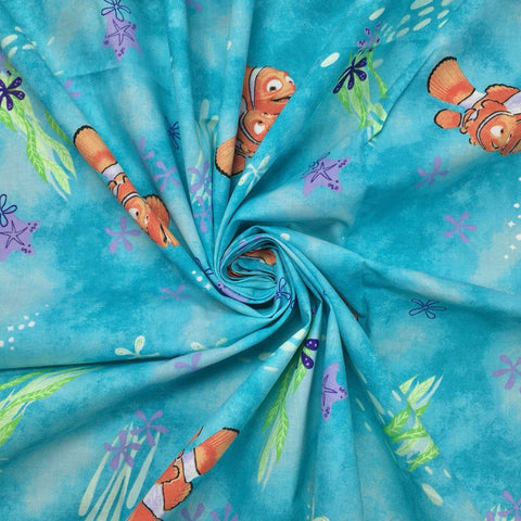 Turquoise Finding Nemo 100% Cotton Fabric - 3 metres for £10