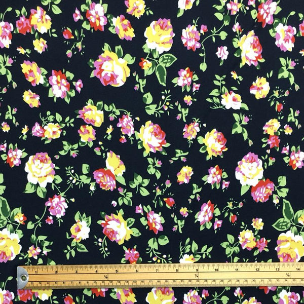 Pink and Yellow Flowers on Midnight Blue Jersey Fabric