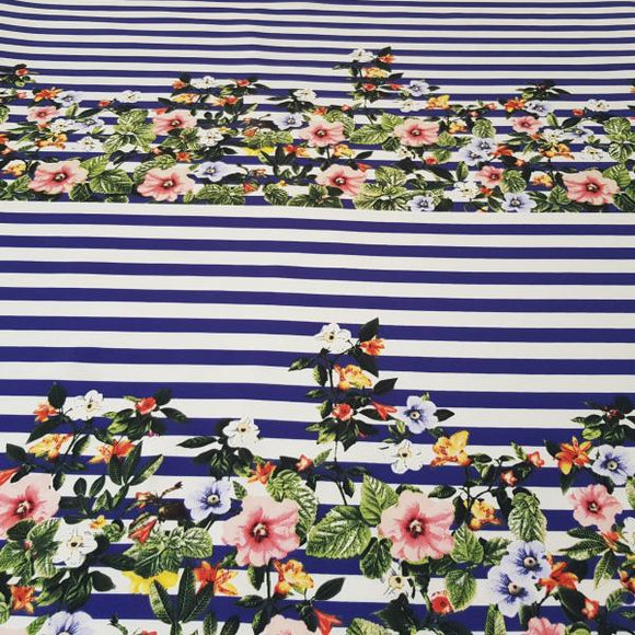 Blue and White Floral Stripe Polyester Fabric - Pound Fabrics