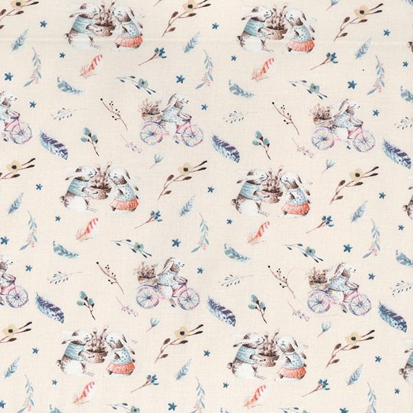 Cycling Bunnies Cotton Fabric - John Louden