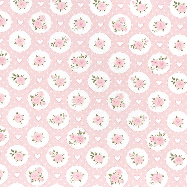 Vintage Flowers & Hearts Cotton Fabric - John Louden