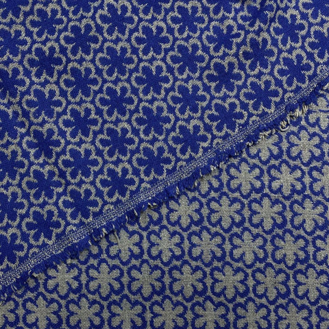 Blue Flower Outline Wool Blend Fabric