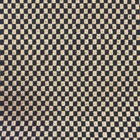 Black and Beige Squares Wool Blend Fabric