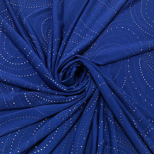 Blue Dew Drops Elastane Fabric