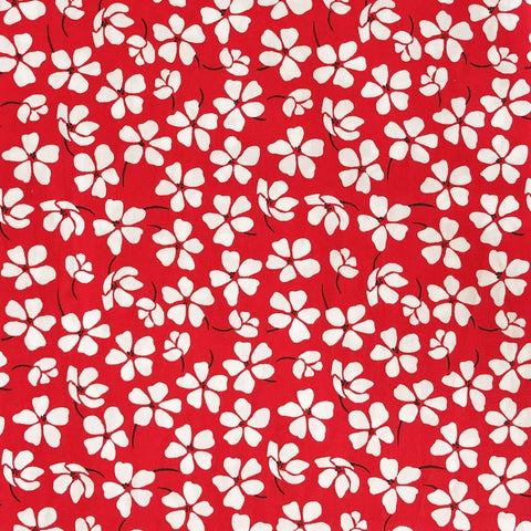 Red/White Bloom Cotton Fabric