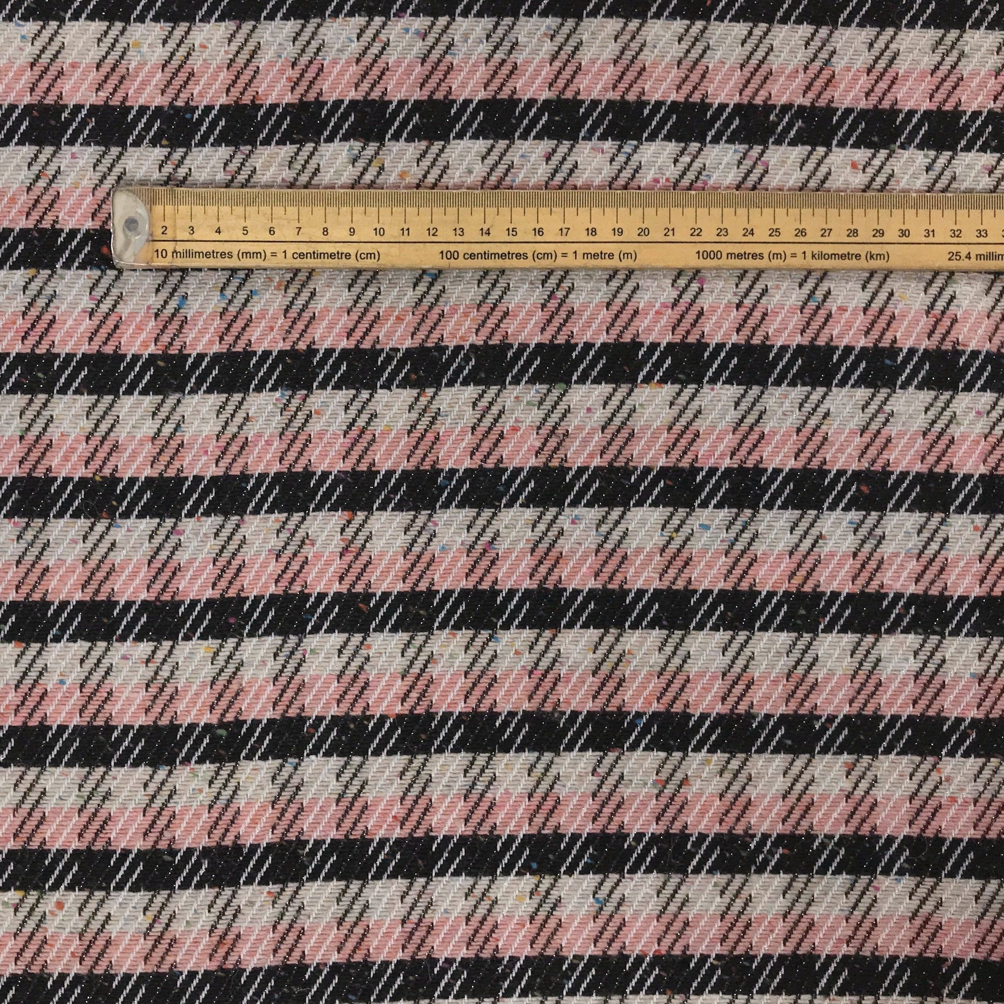 Pink/Black Check Wool Blend Fabric