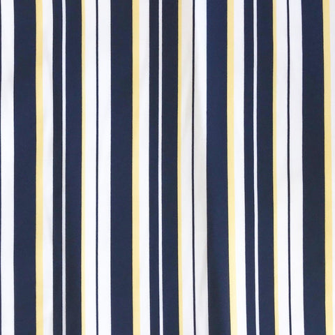 Navy/Yellow Stripe Georgette Fabric