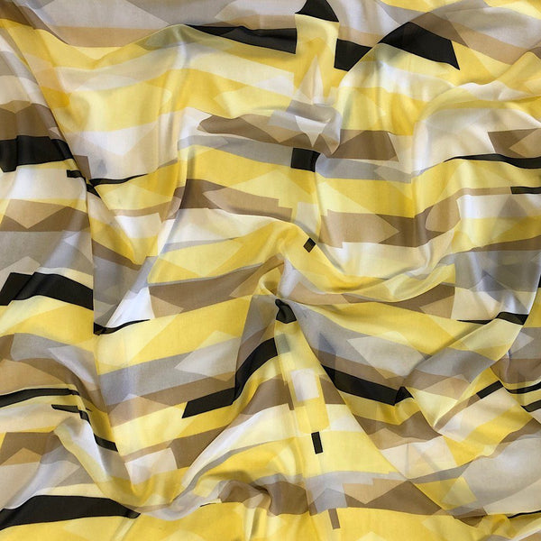 Yellow Geometric Chiffon Fabric - Pound Fabrics