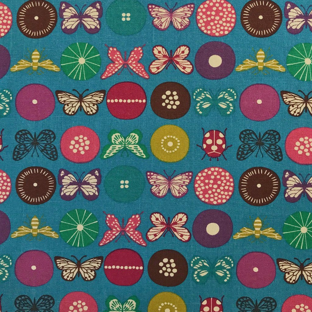 Turquoise Insects Design Cotton Canvas Fabric