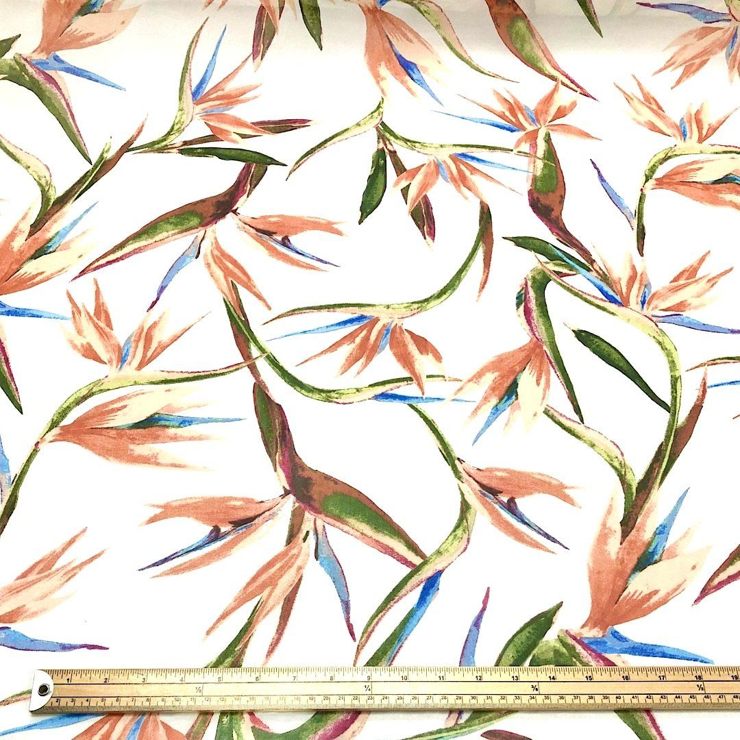Orange and White Birds of Paradise Chiffon Fabric