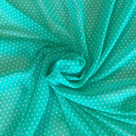 Mint/White Polka Dot Chiffon Fabric