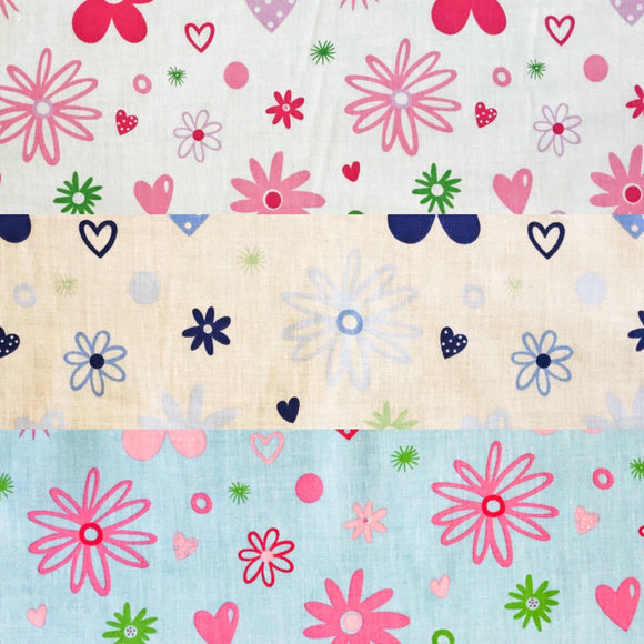 Flower Hearts Polycotton Fabric - Pound Fabrics