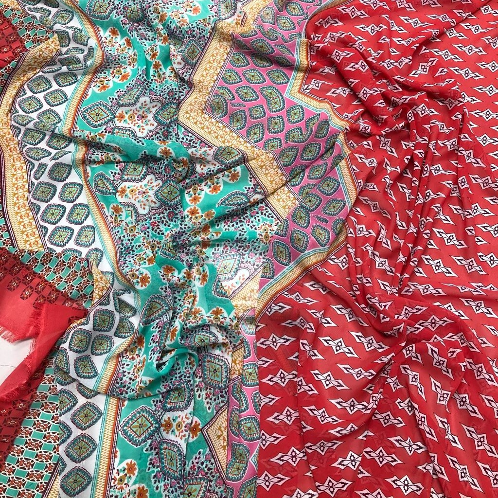 Mixed Pink Red Mint Patterned Chiffon Fabric