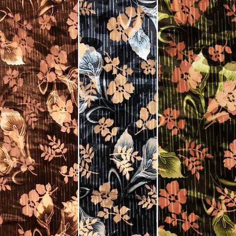 Floral Velvet Velour Burnout Fabric