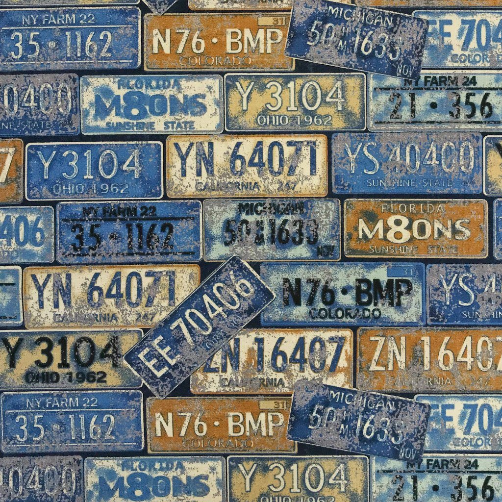 Blue Number Plates Cotton Canvas Fabric