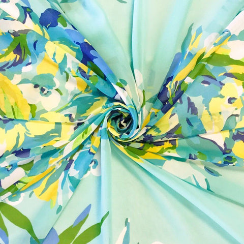 Blue Floral Art Chiffon Fabric - Pound Fabrics