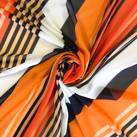 Orange Diagonal Stripe Chiffon Fabric