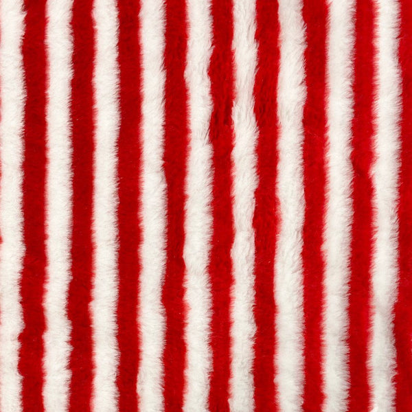 Red and Ivory Striped Faux Fur Fabric