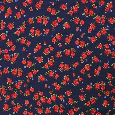 Navy Small Rose Brushed ITY Jersey Fabric - Pound Fabrics