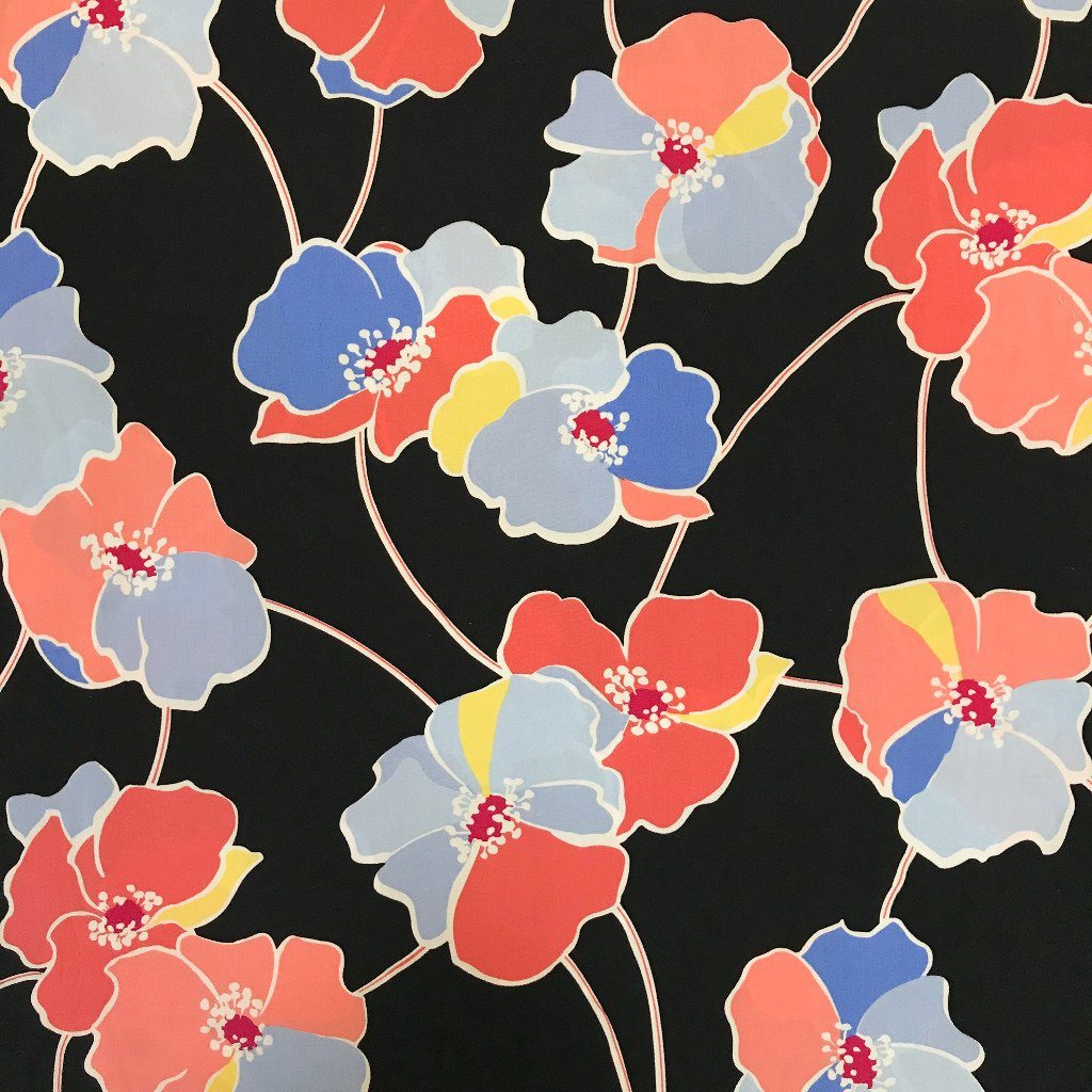 Colourful Poppies Cotton Fabric
