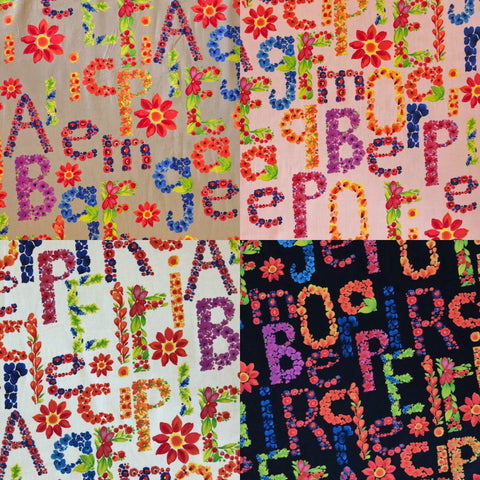Summery Floral Letters Cotton Fabric