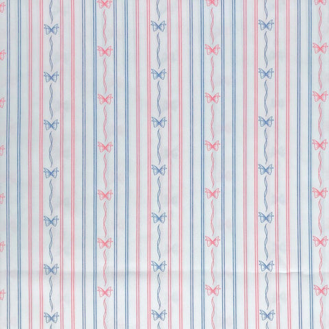 Blue/Pink Bow Stripe Polyester Fabric