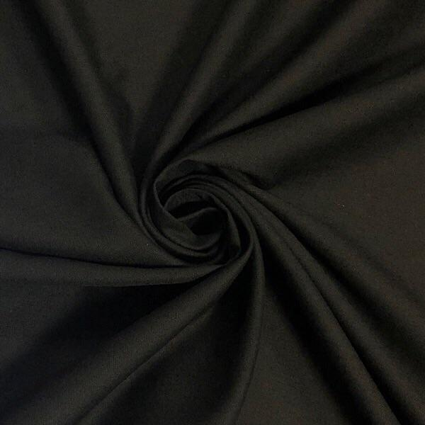 "94"" Wide Black Polycotton Sheeting Fabric - 25m Roll - Pound Fabrics"