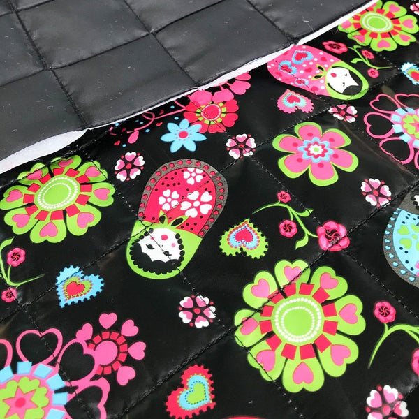 Bright Flowers and Dolls Quilted Fabric