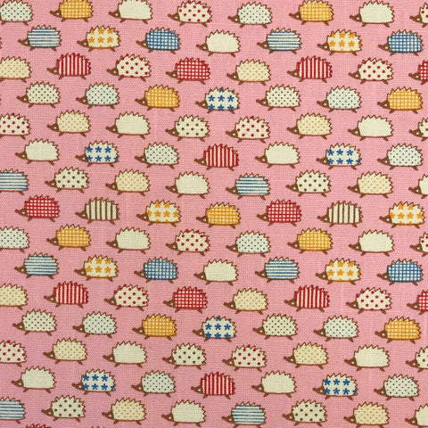 Pink Pattern Hedgehogs Cotton Canvas Fabric